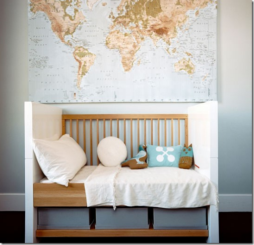 Simplified bee decorating ideas using maps for Elle decor nursery