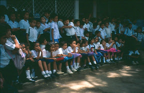 All lined up waiting for an 'acto' at the school, 1997