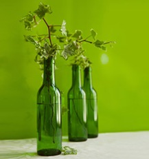 green wine bottles centerpieces