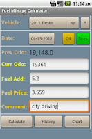 Screenshot of Fuel Mileage Calculator