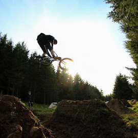Silhouette by Miles Trotter - Sports & Fitness Cycling ( jumps, sky, sunset, silhouette, bmx, trees, dirt )