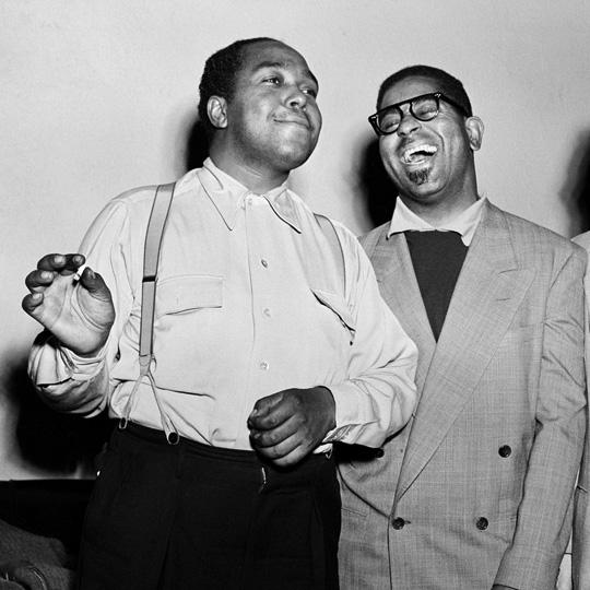 Herman Leonard - Charlie Parker and Dizzy Gillespie NYC, 1949.jpg