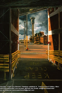 plein air oil painting of East Darling Harbour Wharves - now Barangaroo by industrial heritage artist Jane Bennett