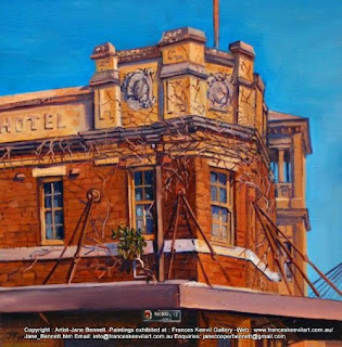 streetscape, old pub in Pyrmont, 'Terminus Hotel', oil painting by artist Jane Bennett