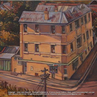 streetscape, old pub in Pyrmont, 'Pyrmont Arms', oil painting by artist Jane Bennett
