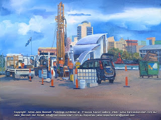 plein air oil painting of drill rig at Barangaroo by industrial heritage artist Jane Bennett