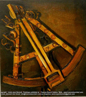 sextant, antique navigation instrument, oil painting by artist Jane Bennett