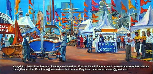 plein air painting of the 2010 'Classic and Wooden Boat Show' at the Australian National Maritime Museum' by marine artist Jane Bennett