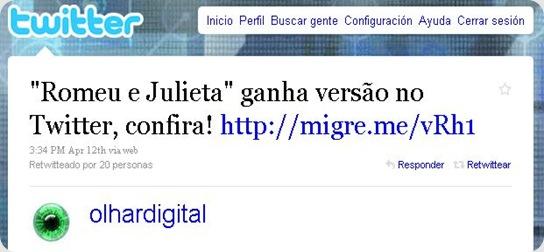twitter sobre romeu e julieta