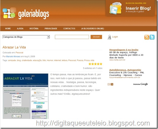Página do Abrazar La Vida no Galeria de Blogs