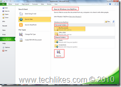 Office 2010 Documents : Save/Store/Sync  with  SkyDrive