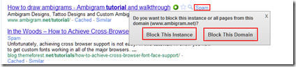 Block Spam Links In Google Search : Chrome Extension