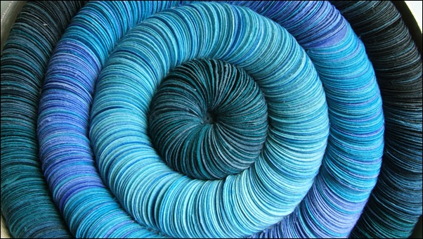 9.Large blue paper circle brooch(section)