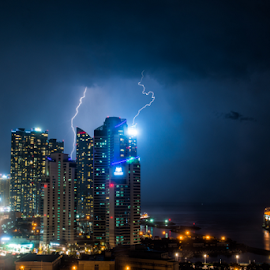 Lightning strikes Marine City by Keith Homan - City,  Street & Park  Night ( building, lightning, strike, busan, buildings, pusan, long exposure, night, south korea,  )