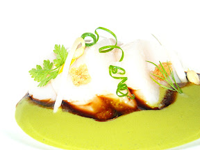 Vieira con crema de alga
