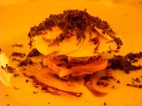 Tosta con foie, champignons e trufa