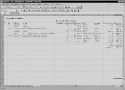 Cópia de tela do Microsoft Excel