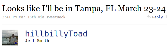 the hillbillytoad announces trip to tampa