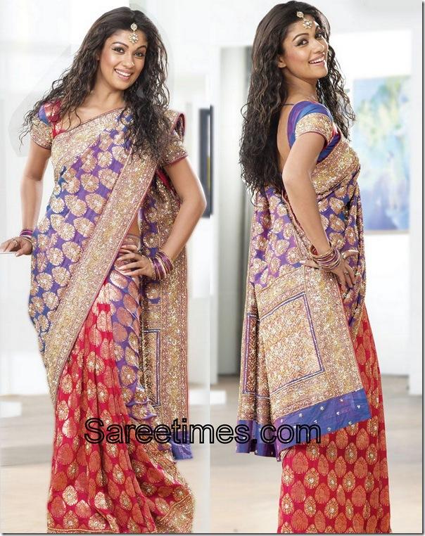 Nayantara_Purple_Orange_Designer_Saree