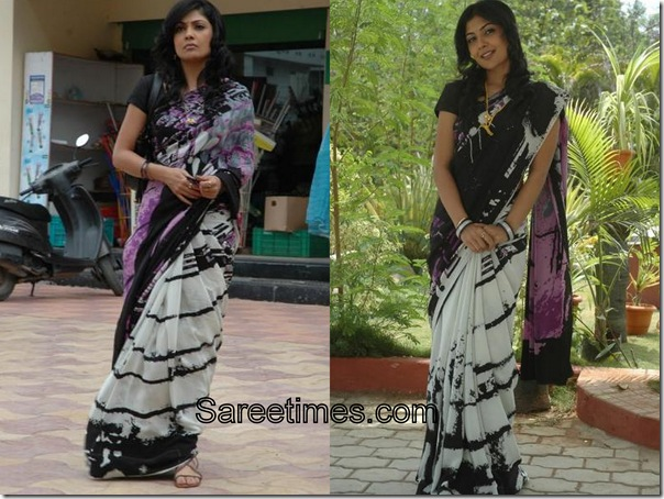 Kamalini_Mukherjee_White_Black_Designer_Saree