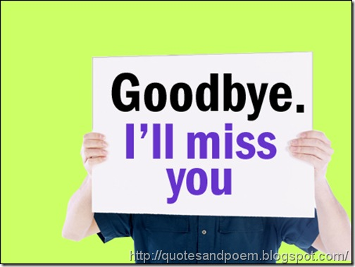 Goodbye I miss you