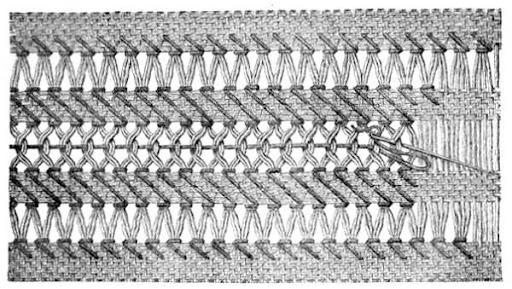 Three rows of a drawn thread border