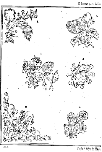 outlines of flowers. There are some flower designs