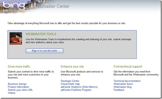 bing-webmaster-center-sitemap