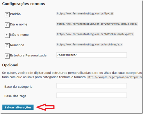 Opções de links parmanetes do WordPress