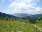 W dolinie widać Krościenko, oraz górujący nad nim Lubań - to będzie nasz cel na jutro