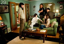 (Left to right) Director CHRIS WEITZ and actors ASHLEY GREENE, KRISTEN STEWART and TAYLOR LAUTNER on the set of THE TWILIGHT SAGA: NEW MOON.