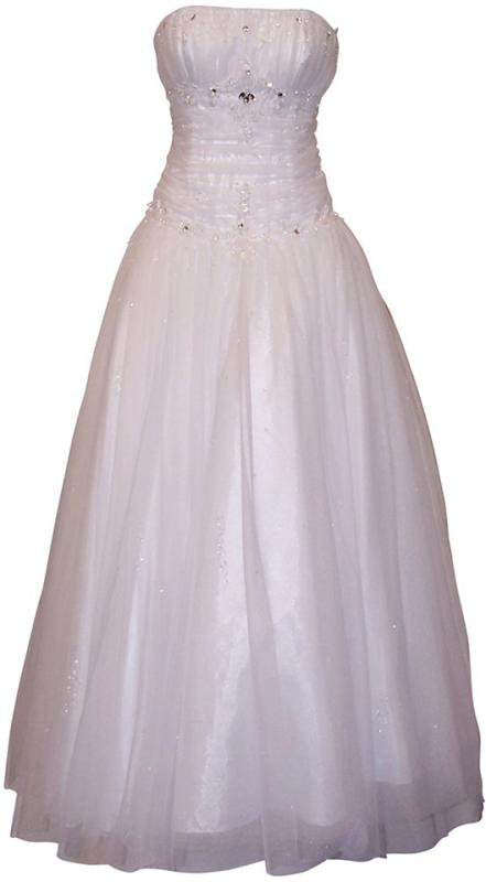 Beaded Mesh Fairy Prom Dress Formal Ball Gown, White | Prom Dress ...