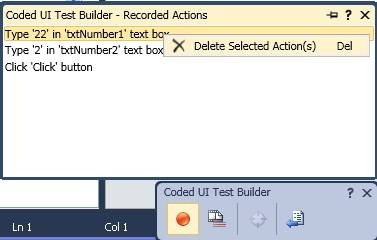 Delete Recorded Actions  - Coded UI Test