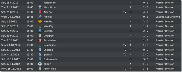 Matches and results of season's first part, FM10