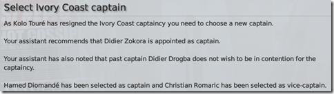 Ivory Coast captain change