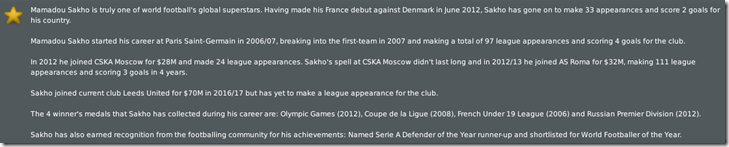 Sakho's biography in Football Manager 2010