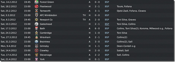 Last matches in Blue Square Premier League, FM 11