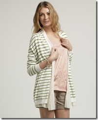 Green striped cardigan