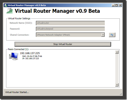 turn your laptop into wifi hotspot - using virtual router
