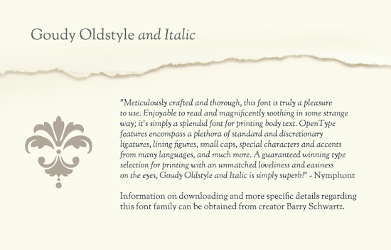 Goudy Oldstyle and Italic by Barry Schwartz