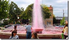 Yup that's PINK water in the fountain!