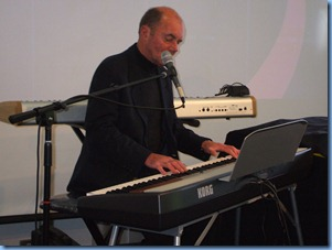 "Surprise guest artist, Peter Parkinson, wowed the crowd with his ""three hands"" technique. Seen here playing the Korg SP250"