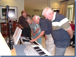 Colin Crann, Phyl Briscoe, Rob Powell, and Alan Wilkins covering some features on the Yamaha PSR-900 keyboard.