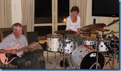 Brian Gunson and Denise Gunson giving the drum kit a work-out and very nicely played too guys.