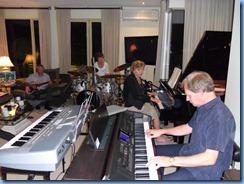 Brian Gunson (guitar), Denise Gunson (drums), Carole Littlejohn (grand piano) and Dave Hallam (Clavinova) jamming nicely