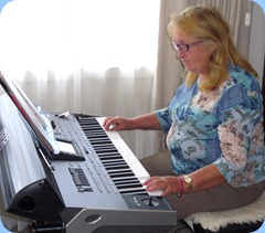 Desiree Barrows playing the latest Korg arranger keyboard, the Pa3X