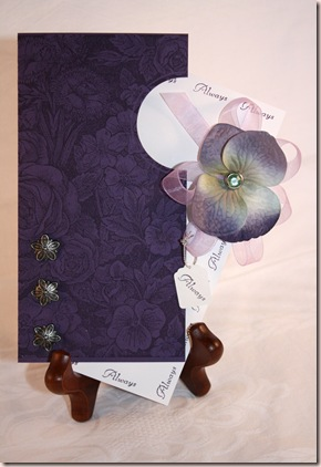 purple hydrangrea wedding card 2