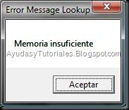 ErrMsg - Memoria Insuficiente - AyudasyTutoriales