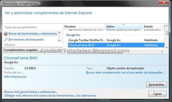 Administrar Complementos - Opciones de Internet