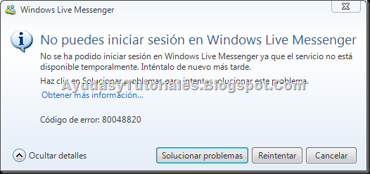Error MSN - AyudasyTutoriales